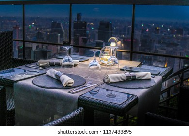Rooftop restaurant dinner table