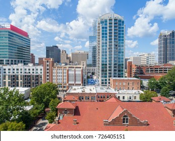 Rooftop Skyline by drone of Downtown Raleigh, NC Mid Day
