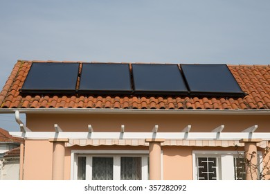 A Rooftop solar panels on a modern house