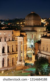 Rooftop Street night view in Rome, Italy.