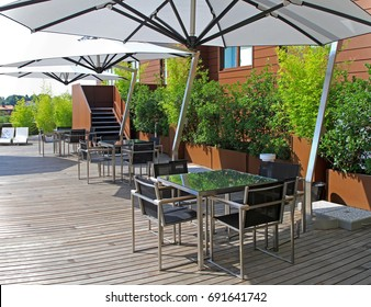 Rooftop terrace with small green garden oasis