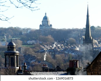 Rooftop view across the City of Lancaster, Lancashire, England, UK