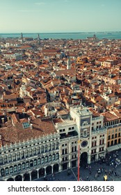 Rooftop view from the bell tower of historical buildings at Piazza San Marco in Venice, Italy.