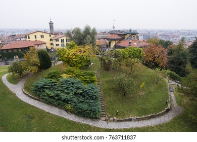 A rooftop view of Bergamo city in Italy