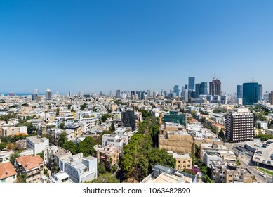 Rooftop view  of boulevard Rothschild and central area in Tel Aviv, Israel.