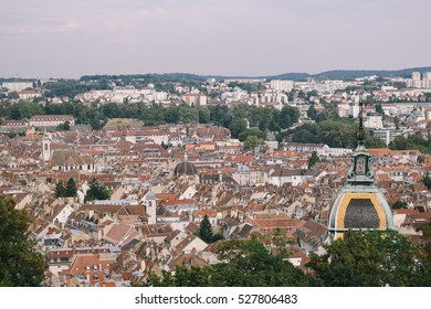 Rooftop view of the city center of Besancon (France), seen from Vauban's Citadel.