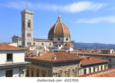 Rooftop view of Duomo Santa Maria Del Fiore and Campanile. Florence, Italy