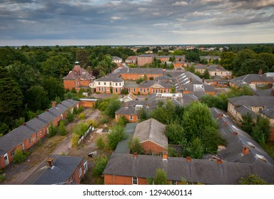 Rooftop view of the hospital at a derelict lunatic asylum, Severalls, Colchester, Essex, England, UK