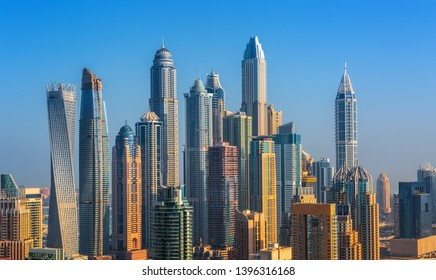 Rooftop view on Dubai Marina skyscrapers, Dubai, United Arab Emirates