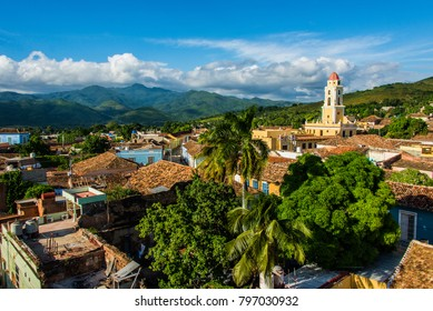 Rooftop view over the church of Trinidad in Cuba.
