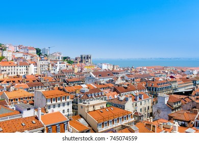 Rooftop view over the city of Lisbon (Lisabon), Portugal