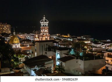 A rooftop view over downtown Puerto Vallarta at night
