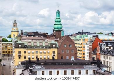 Rooftop view Sodermalm district. Stockholm, Sweden, Scandinavia