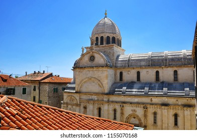 A rooftop view at the St. James cathedral in Sibenik, Croatia