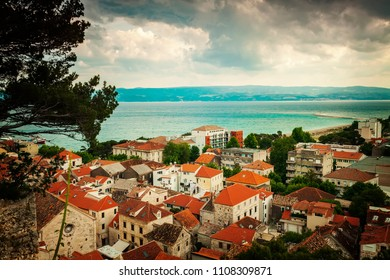 Rooftop view of the town of Omis, Croatia.