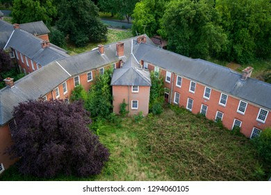 Rooftop view of the wards at a derelict lunatic asylum, Severalls, Colchester, Essex, England, UK