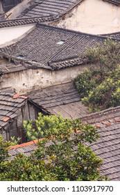 Rooftops of an ancient neighborhood in Hangzhou, China.