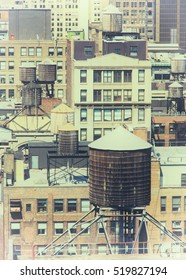 Rooftops of buildings in midtown Manhattan. Faded filter applied.