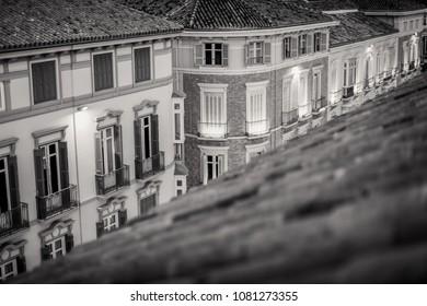 Rooftops in Calle Larios, Historic and Artistic Center of Malaga, Malaga, Malaga Costa del Sol, Andalusia, Spain, Iberian Peninsula