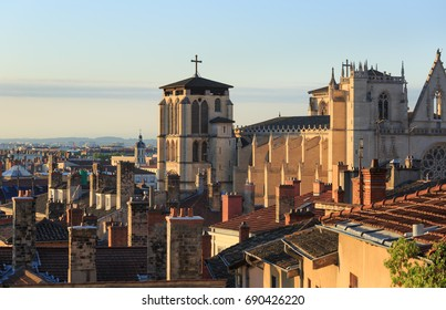 Rooftops, chimneys and cathedral St. Jean Baptiste in Vieux Lyon, the old town of Lyon. France.