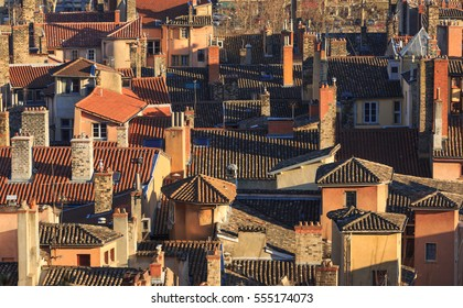 Rooftops and chimneys of the old town Vieux Lyon, in Lyon, France (UNESCO World Heritage Site).