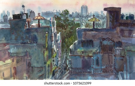 Rooftops of Delhi, India. Laxmi Nagar area.  Hand drawn watercolor painting. City at sunset. Asian cityscape. Travel around the world.