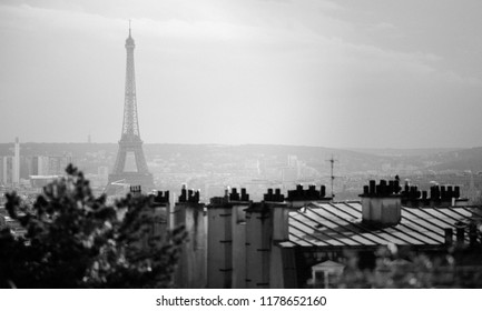 Rooftops and the Eiffel Tower from the Montmartre in Paris, France