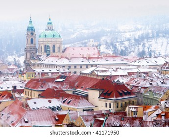 Rooftops of the European city of Prague in winter