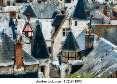 Rooftops in the Famous Historic Town of Chinon in the Loire Valley, France