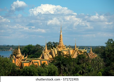 Rooftops of the Grand Palace, Phnom Penh, Cambodia.