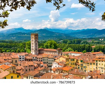 Rooftops of Lucca, Italy with scenic nature, mountains in the background