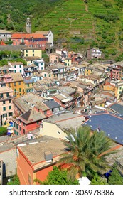 Rooftops and old buildings along the main street of Vernazza, Cinque Terre, Italy