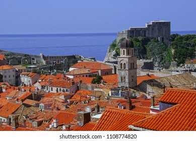 Rooftops of the old city from the city walls of  Dubrovnik, Croatia