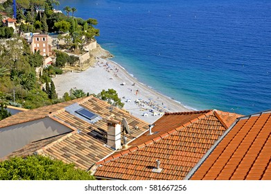 Rooftops on the beach of the Mediterranean laguna