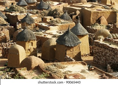 Rooftops and storage bins of the traditional Dogon village Songo in Mali.   The flat rooftops are used for drying fruits, and grain.