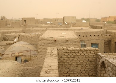 The rooftops of Timbuktu, Mali, reveal numerous satellite dishes even though sandstorms block most television signals