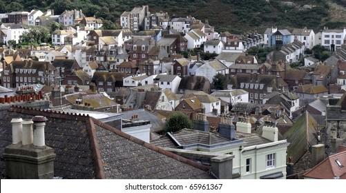 Rooftops view of Hastings seaside town, England