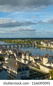 Rooftops view over the city and River Loire in Saumur, Maine et Loire, France