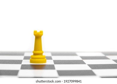 Rook chess figure isolated in white background, rook concept