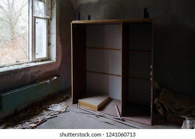 Room in 9-storey apartment building in dead abandoned ghost town Pripyat, Chernobyl NPP alienation zone, Ukraine