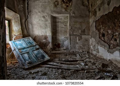 Room in abandoned farmhouse and ruins of the seventeenth century