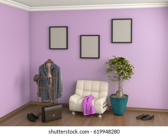 room with armchair, clothes, shoes, plant, 3d illustration