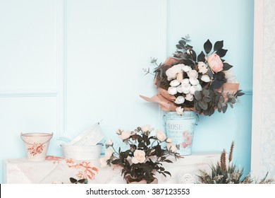The room is beautifully decorated with colorful flowers