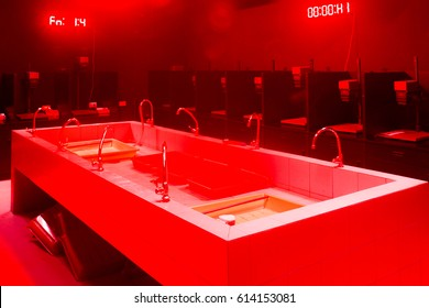 The room of black and white lab with red light.