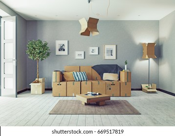 The room with card cardboard boxes instead of furniture. 3d concept