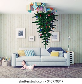 room with a Christmas tree on the ceiling and surprised baby. photo-combination concept