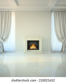 Room in classic style with fireplace 3D