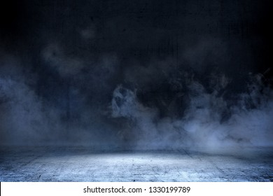 Room with concrete floor and smoke with dark wall background