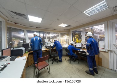 Room of control devices in the manufacturing shop of plant