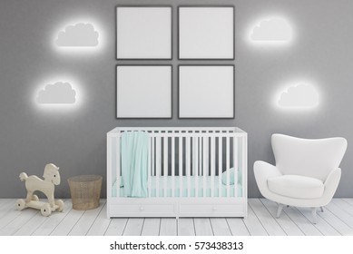Kid�s room with a crib, a white armchair, a horse toy and cloud shaped lamps. Four square framed posters are hanging on a gray wall. 3d rendering. Mock up.
